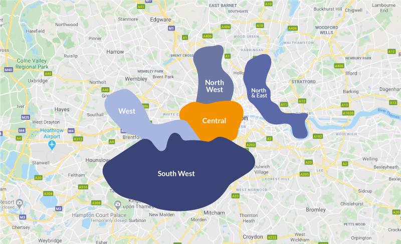 map of london regions like West, South West, North West, North and East and Centeral london